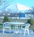 Where to rent UMBRELLA, 7.5  WHITE VINYL TILT W BASE in St. Helens OR