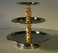 Where to find SERVING TRAY, 3 TIER GOLD in St. Helens