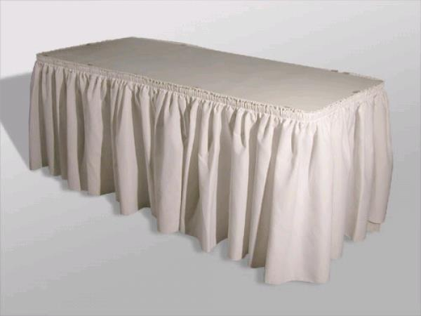 Where to rent TABLE SKIRT, WHITE  8 in St. Helens Oregon, Scappoose OR and the South Columbia County area